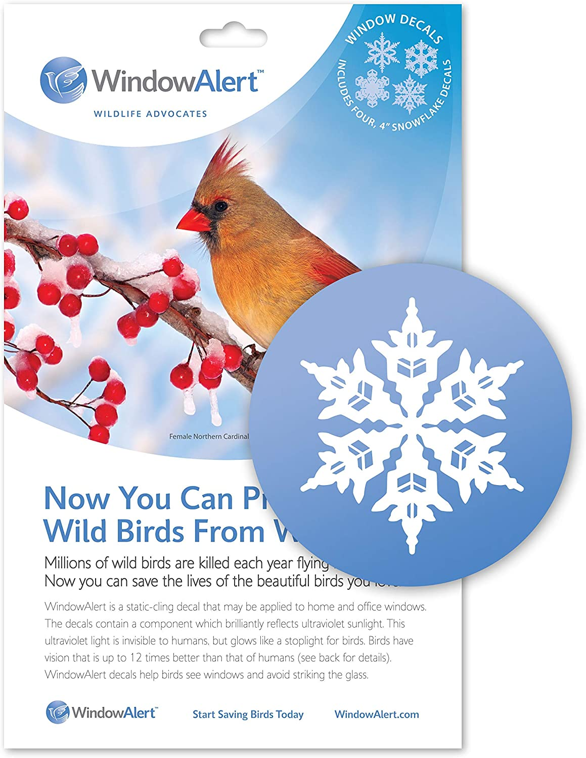 WindowAlert Snowflake Anti-Collision Decal - UV-Reflective Window Decal to Protect Wild Birds from Glass Collisions