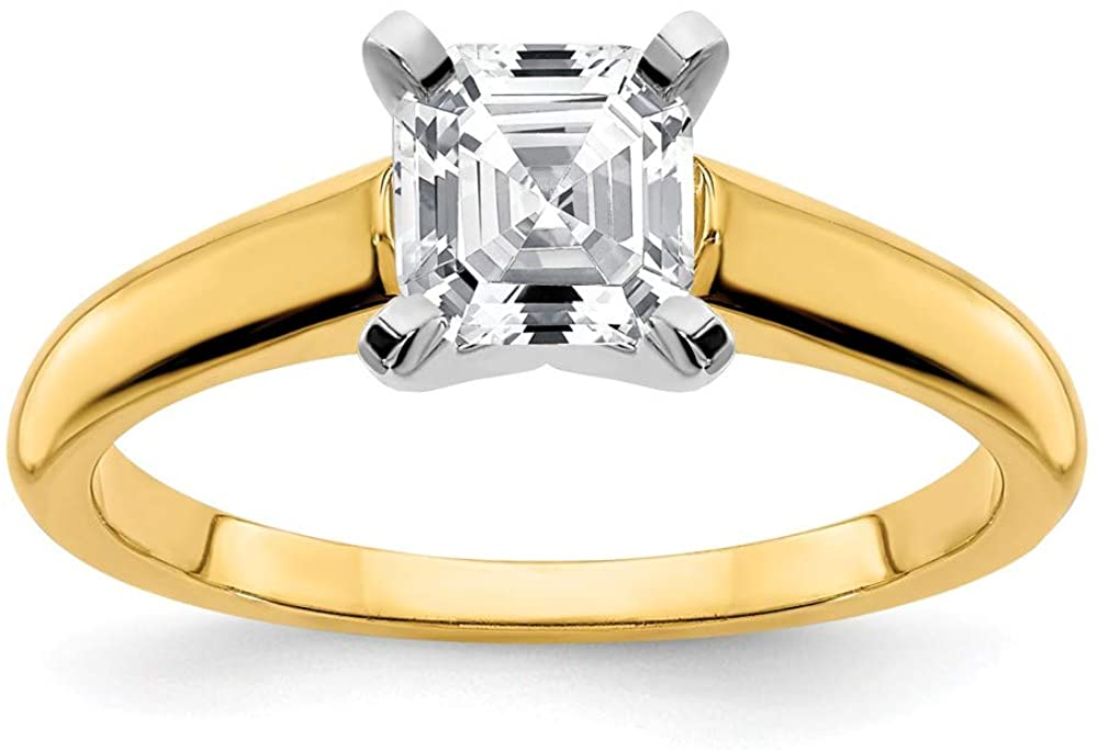 14k Yellow Gold Two Toned 6mm Ascher Cut Moissanite Solitaire Engagement Ring Size 8 (1.34 cttw.)