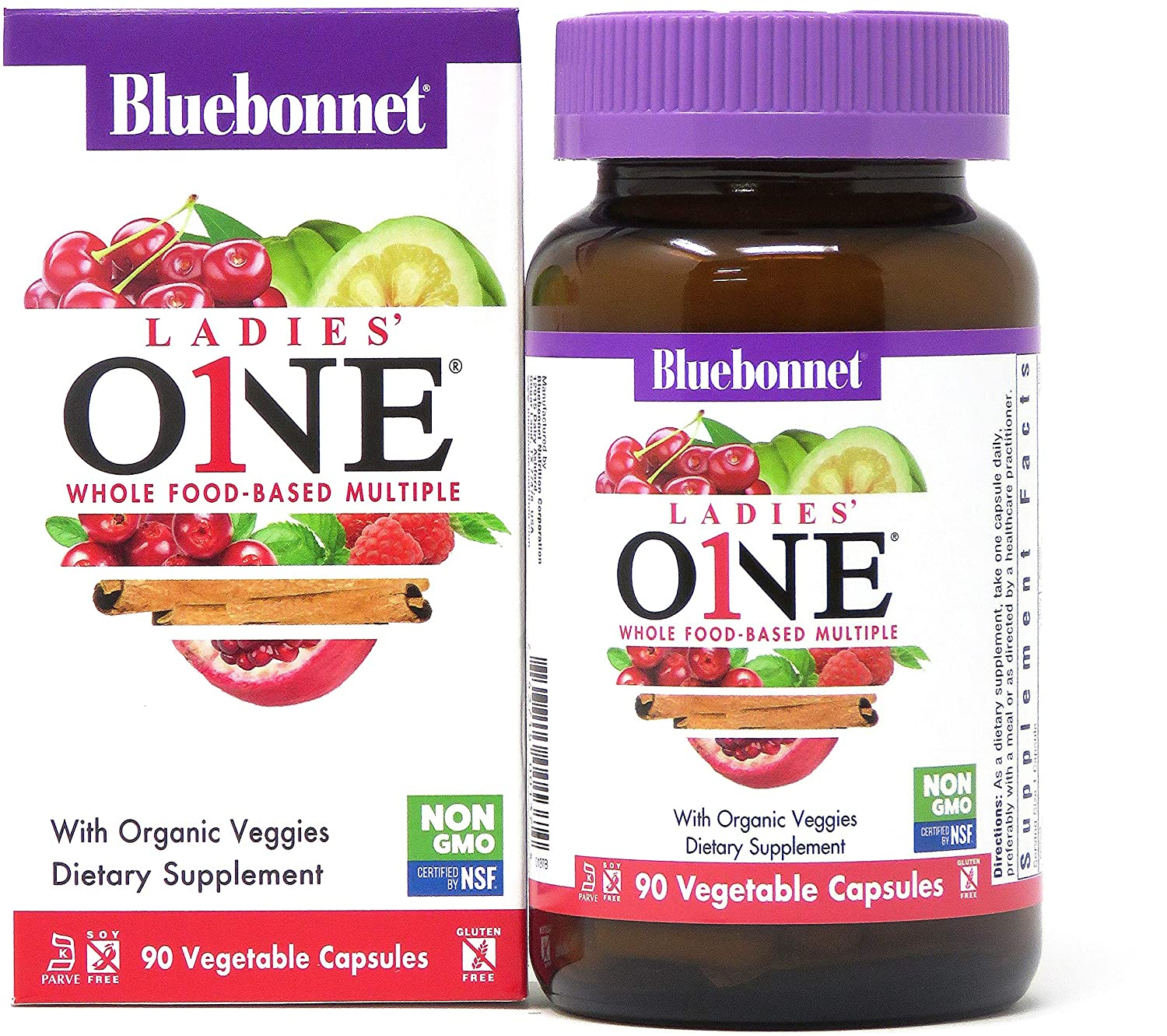 Bluebonnet Nutrition Ladies One Vegetable Capsule, Whole Food Multiple, K2, Organic Vegetable, Energy, Vitality, Non-GMO, Gluten Free, Soy Free, Milk Free, Kosher, 90 Vegetable Capsule, 3 Month Supply