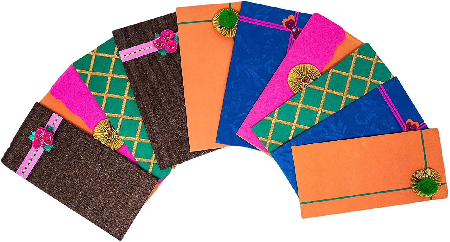 Desi Favors Decorative Handmade Paper Envelopes, Cash or Gift Card envelopes for Weddings/House Warming/Birthdays/Parties (Regular)