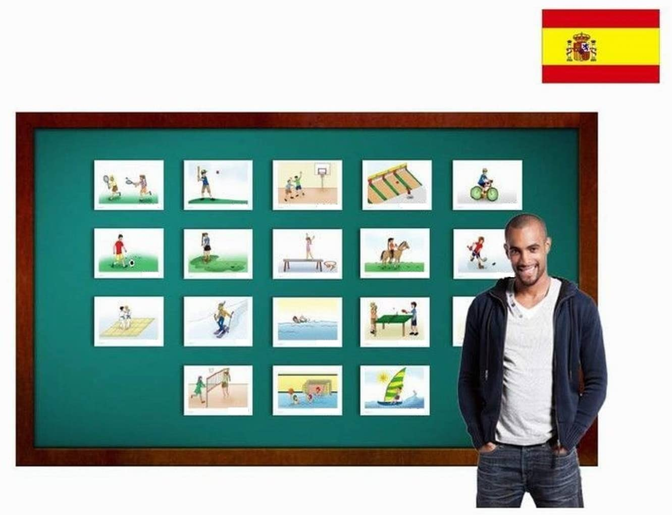 Sports Flashcards in Spanish Language - Flash Cards with Matching Bingo Game for Toddlers, Kids, Children and Adults - Size 5.83 × 8.27 in - DIN A5