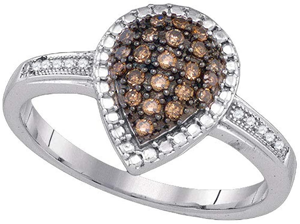 Dazzlingrock Collection 10kt White Gold Womens Round Brown Diamond Teardrop Ring 1/5 Cttw