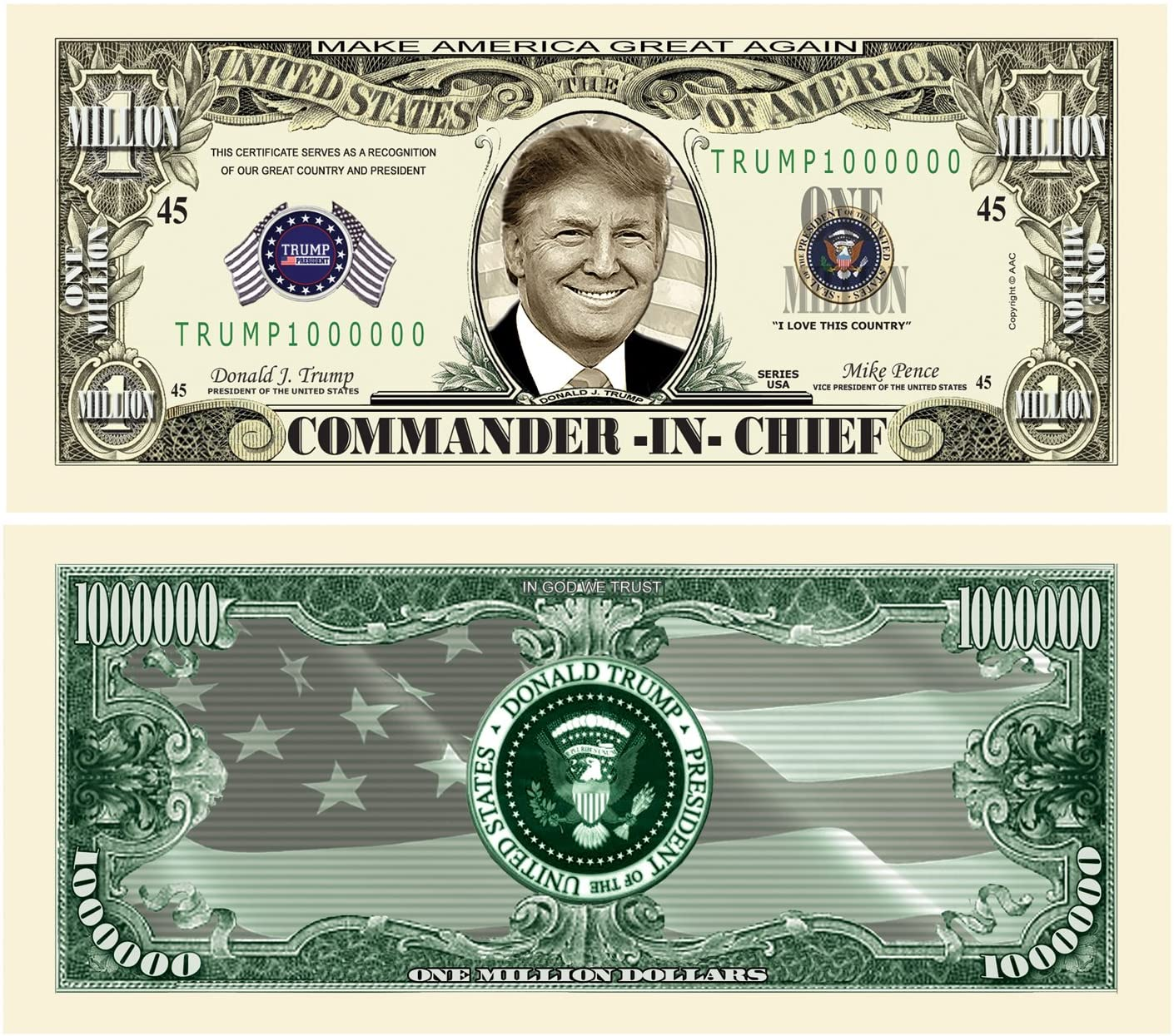 American Art Classics Pack of 25 - Donald Trump Commander in Chief Presidential Limited Edition Million Dollar Bill