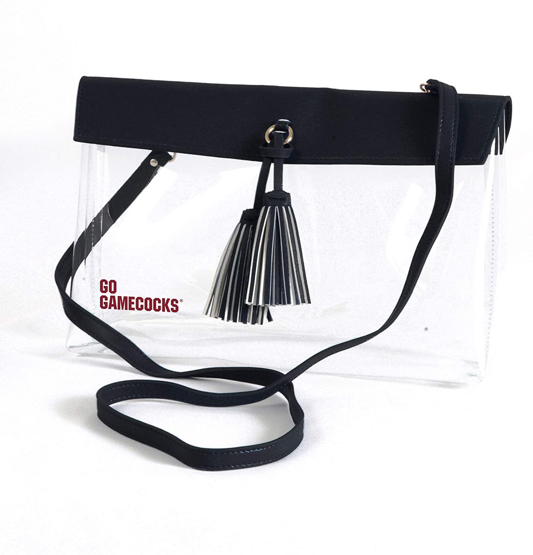 South Carolina Gamecocks Clear Handbag/Purse with Logo, Vegan Leather Trim and Tassels