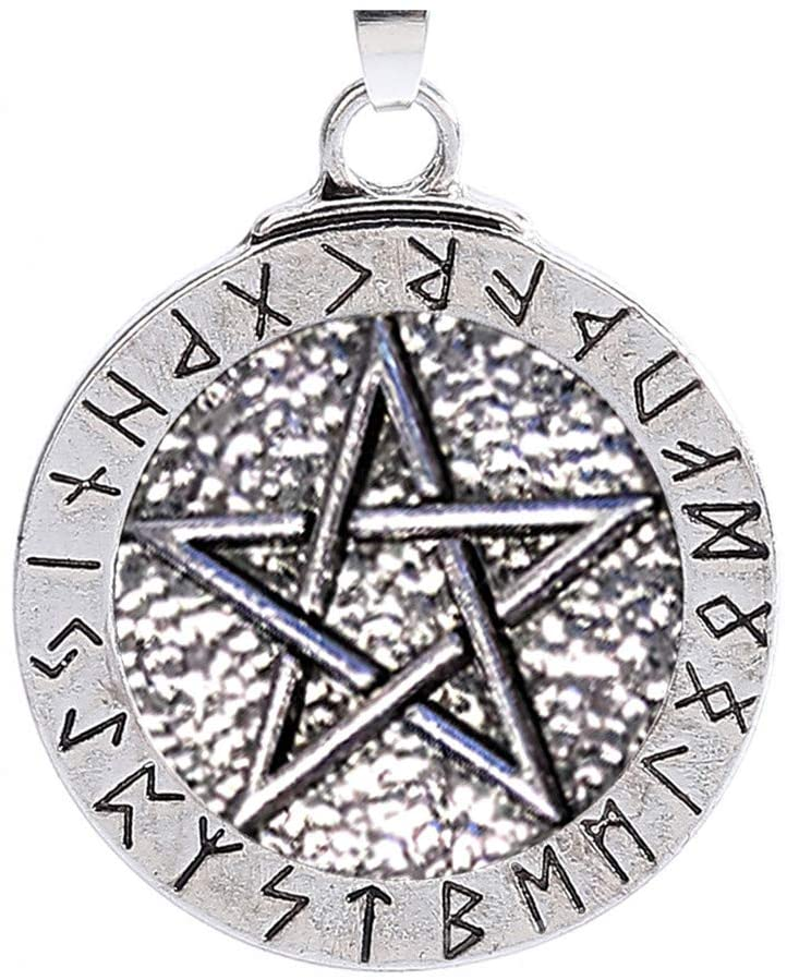Flyalone🍒 Pendant Necklace Large Rune Nordic Viking Pentagram Jewelry Wiccan Pagan Norse