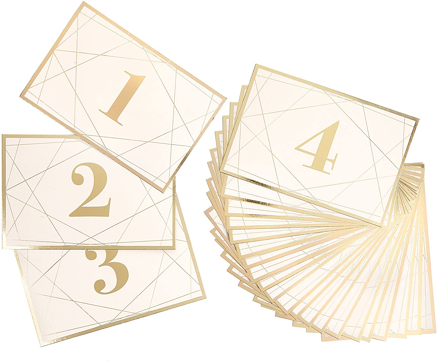 Darice David Tutera Modern Geometric Gold Foil Table Number Cards, 25 Piece