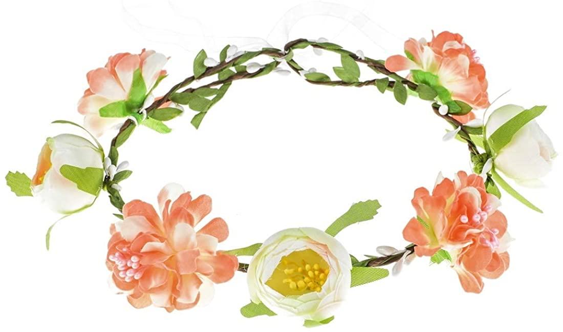 Daisyu Boho Flower Headband Hair Wreath Floral Crown Headpiece (Pink Ivory)