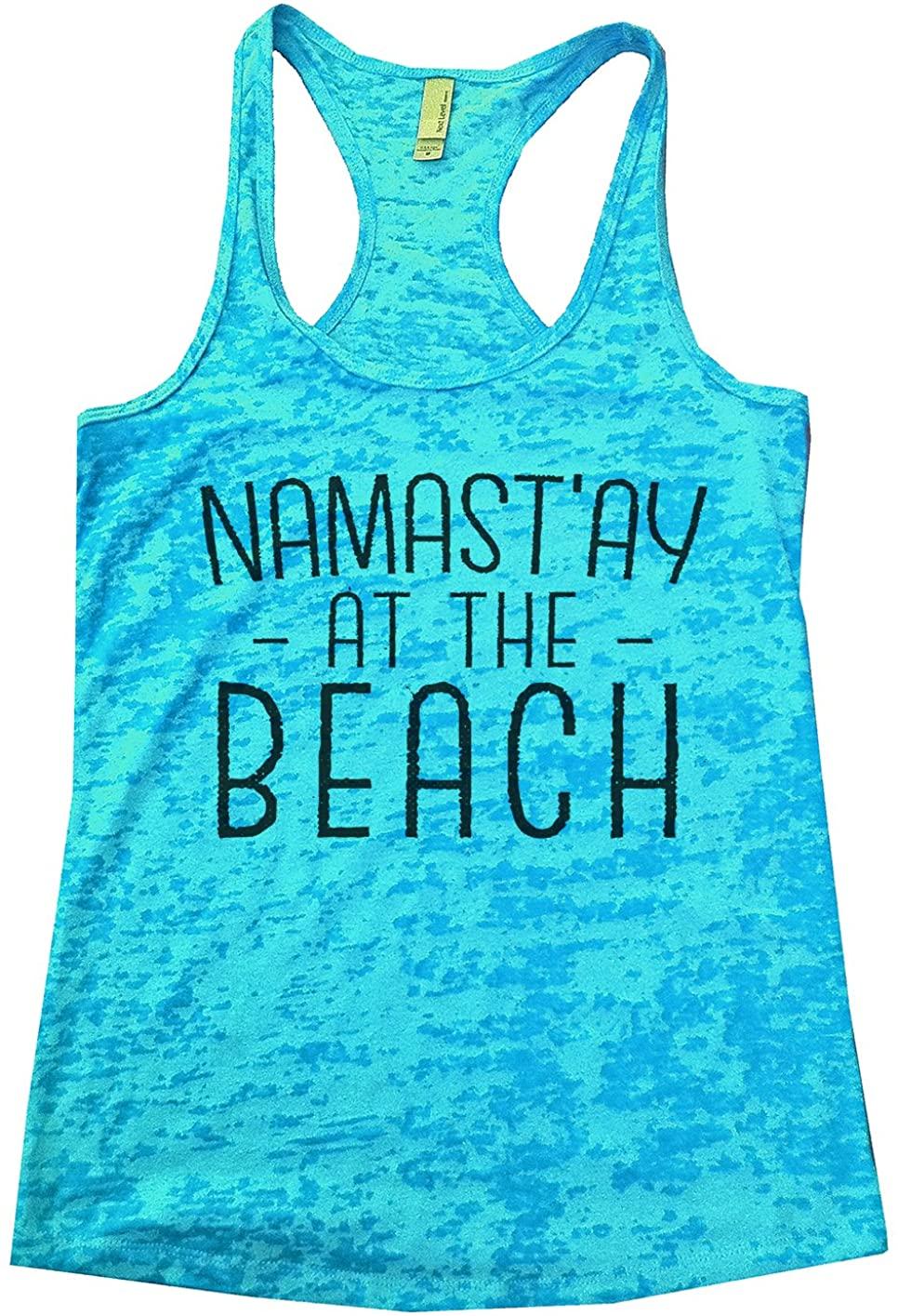 "Funny Threadz Womens Burnout Tank Top ""Namast'ay at The Beach"" Vacation Tank Top"