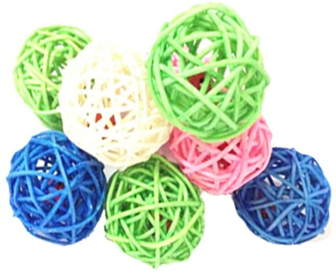 emours Kitten Puppy Pet Weave Rattan Bamboo Ball Toys Squeaking Interactive Scratch Catch Crazy Cat Toys, 12 Pack, Vary Colors