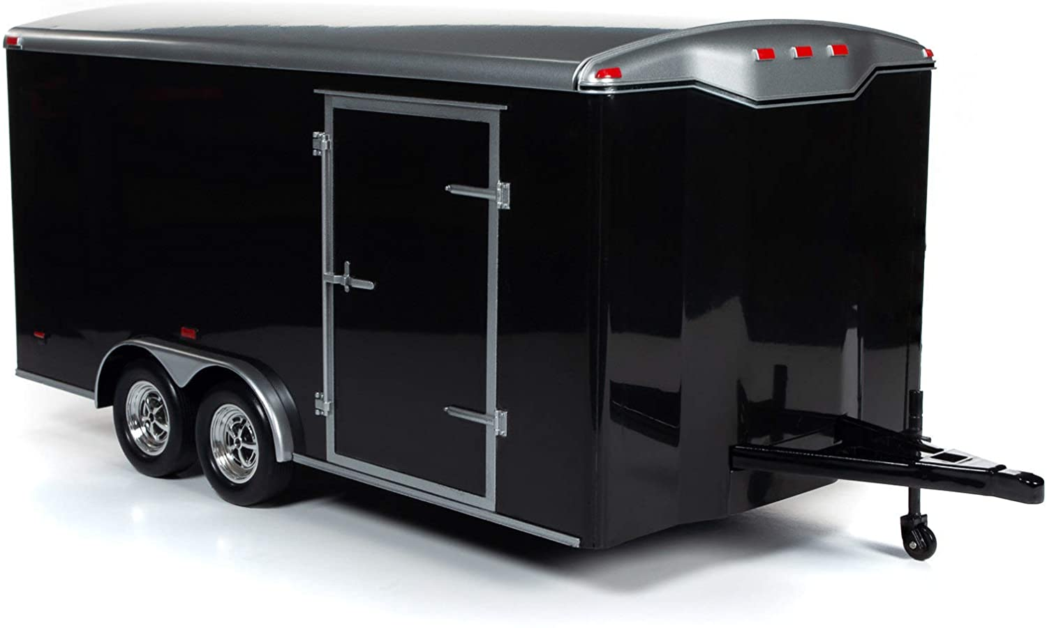 American Muscle Four Wheel Enclosed Trailer Black with Silver Top for 1/18 Scale Model Cars by Autoworld AMM1217