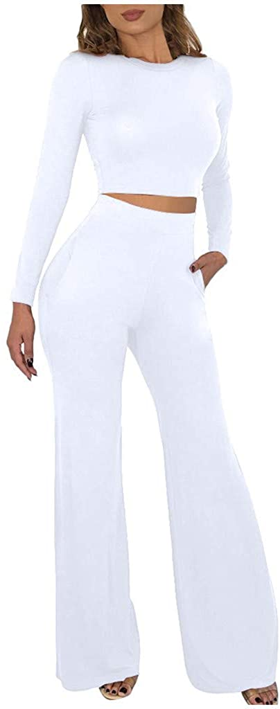 Centory Womens 2 Pieces Outfits Crop Top Wide Leg Pants Set Jumpsuits Long Sleeve Outfits
