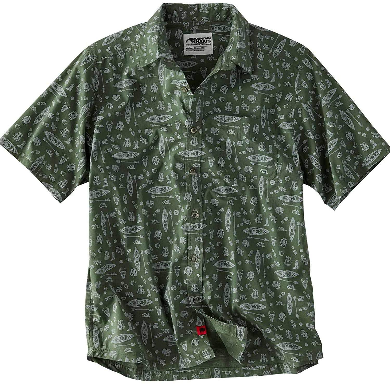 Mountain Khakis Mens Adventurist Signature Print Shirt: Outdoor Casual Classic Shirt, Jungle, Medium