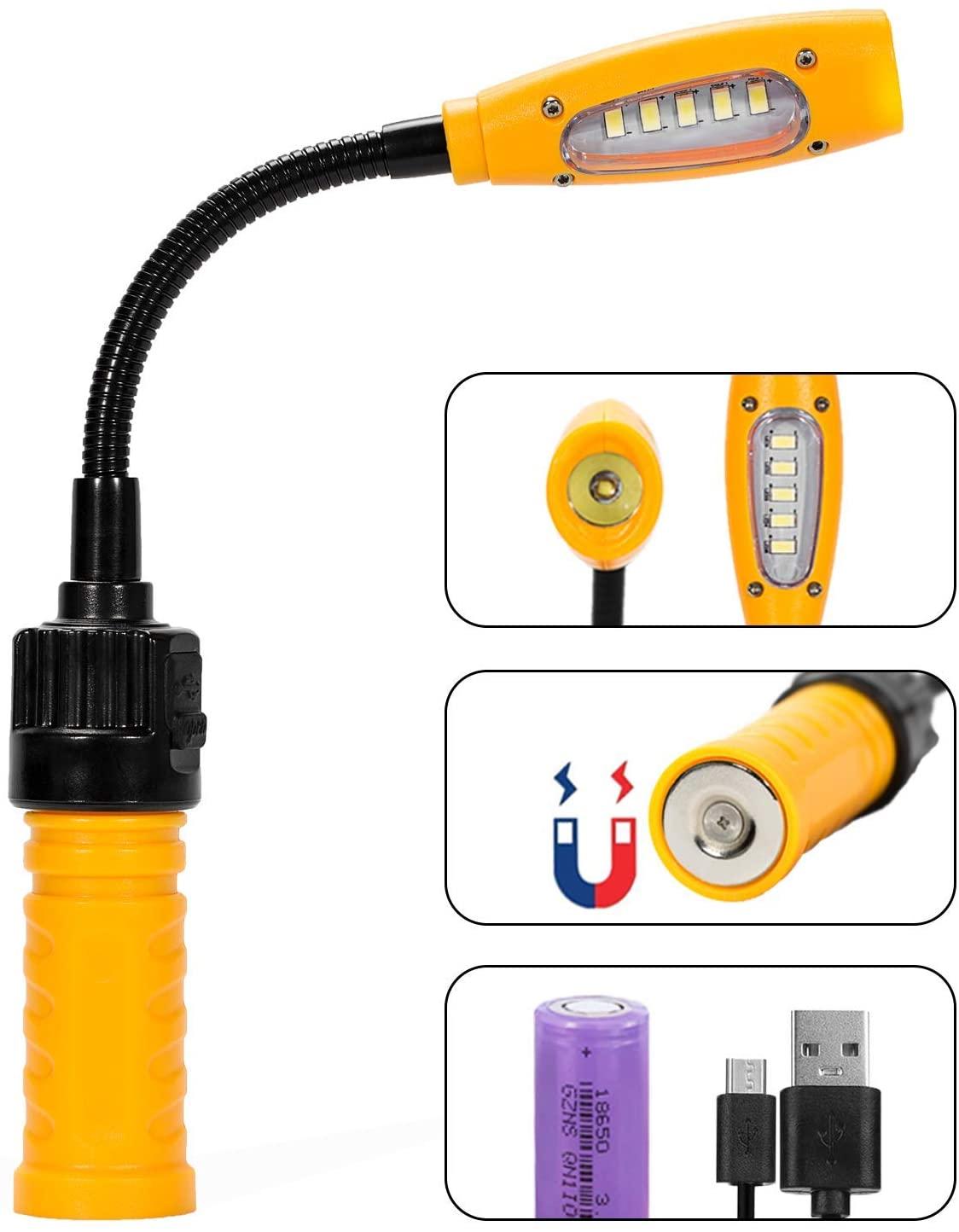 eLusefor Bright Cordless Work Light, USB Rechargeable, COB LED Spotlight, Powerful Magnetic Base, Gooseneck, Hanging Ring & Portable Travel Case, 400 Lumens, Battery Powered, 3 Lighting Modes