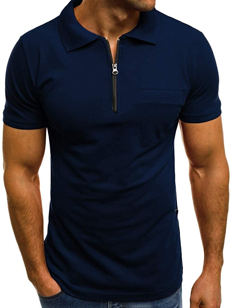 Hot!Men's Monochrome with Pocket Lapel Polo Shirt Ninasill Zipper Short Sleeve Tops Large Size Casual Gentleman's Blouses