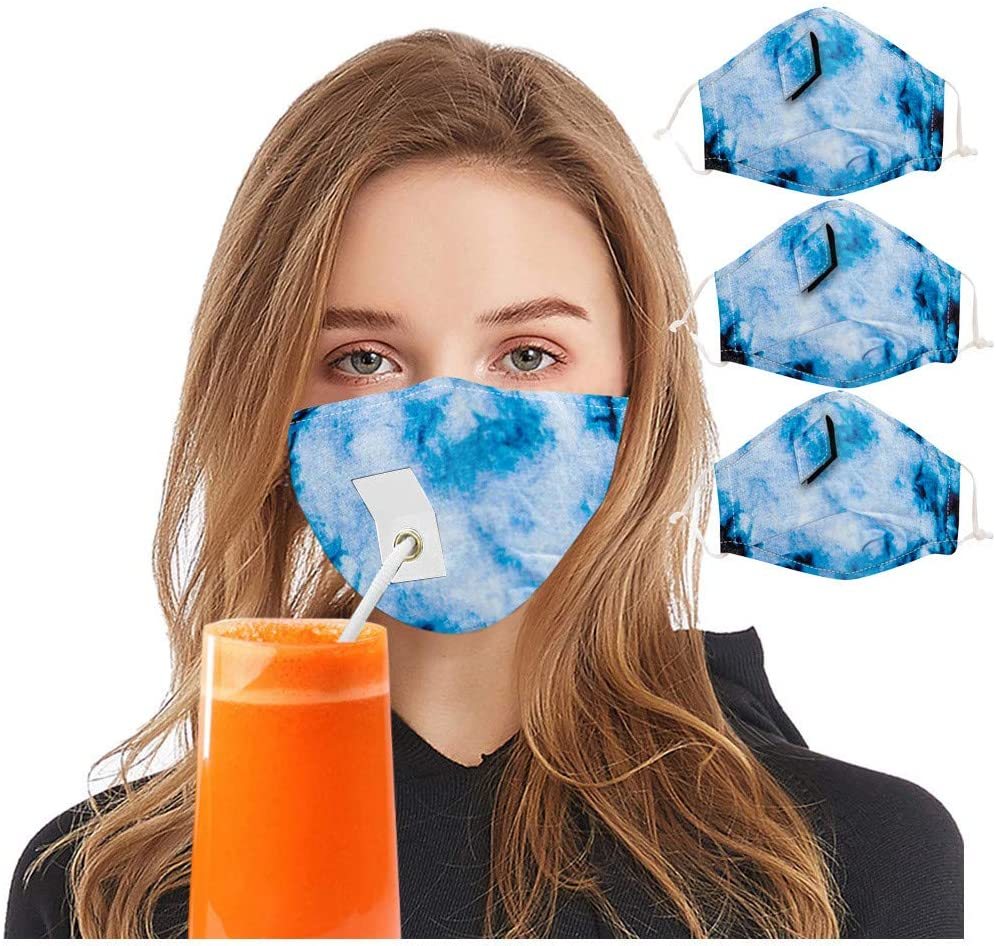 Adults Face Bandanas with Hole Drinking Straw, Reusable Mouth Nose Covering Drink Face Covering, Unisex Breathable Mouth Outdoor Protection Protective Facial Towel for Women Men