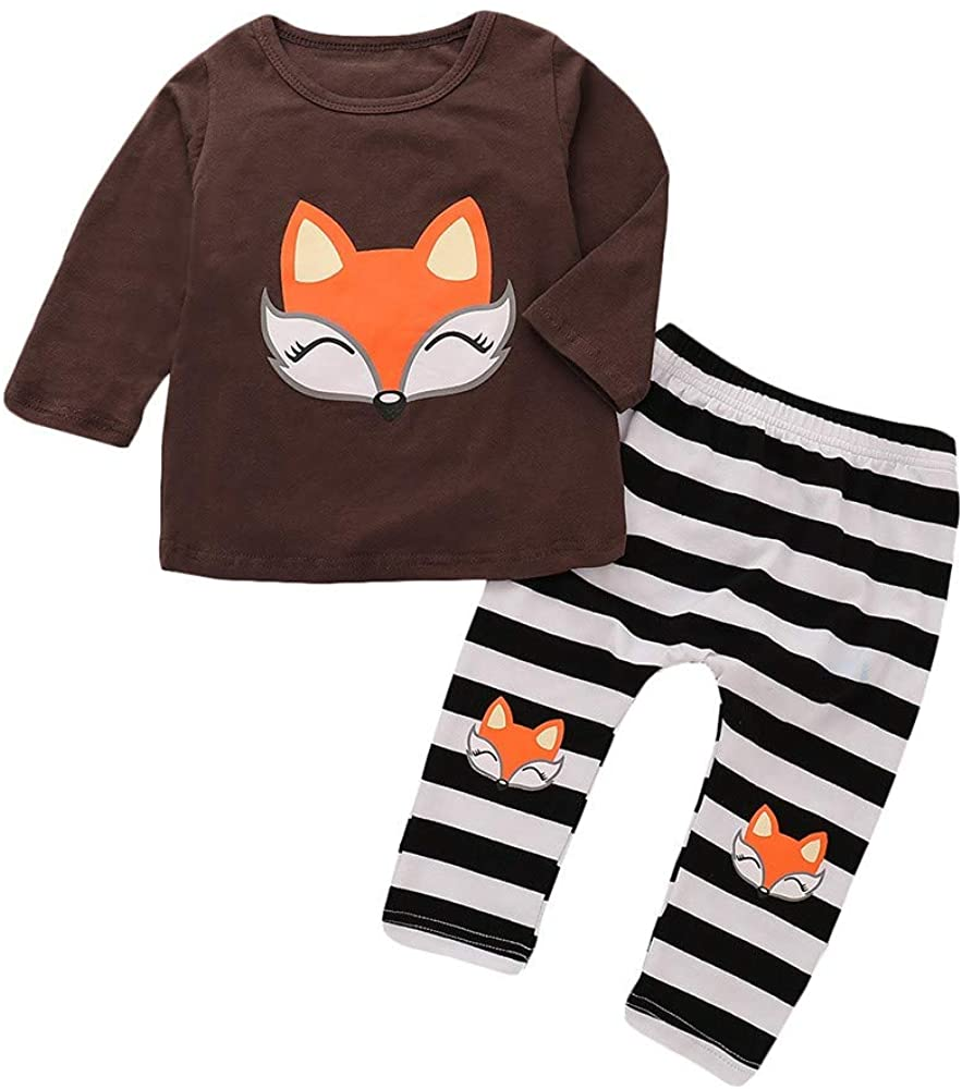 KONFA Toddler Baby Girls Autumn Clothes,Long Sleeve Cartoon Fox T-Shirt+Striped Pants,Kids 2Pcs Outfits Sets