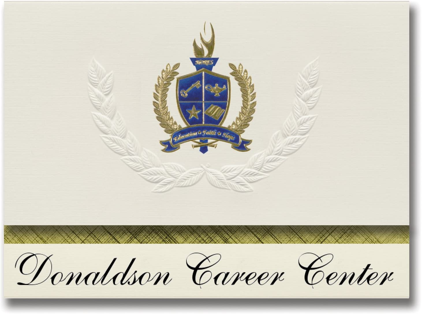 Signature Announcements Donaldson Career Center (Greenville, SC) Graduation Announcements, Presidential style, Elite package of 25 with Gold & Blue Metallic Foil seal