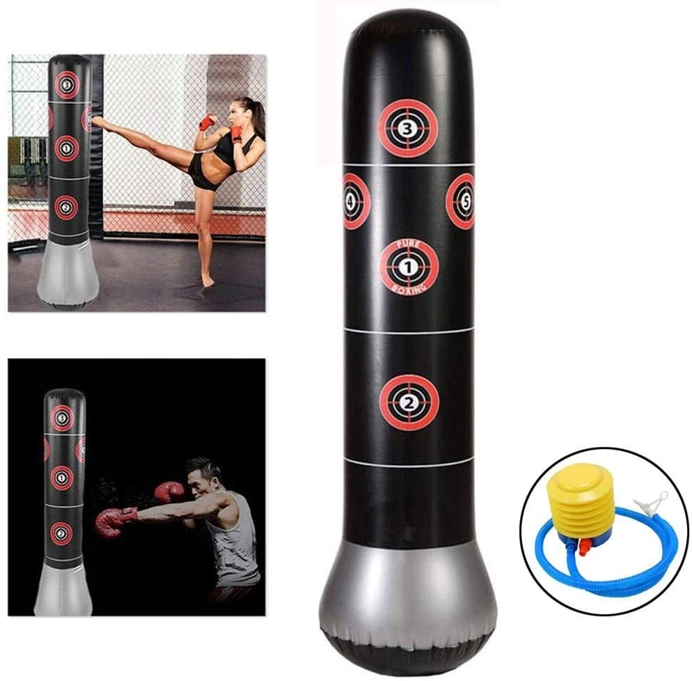 LLQQ Inflatable Free Standing Punching Bag for Kids and Adults,Boxing Punch Bag Stress Relief Column Sandbag Target Heavy Training Fitness Sandbag with Pump Unisex Free Standing Punching Bag