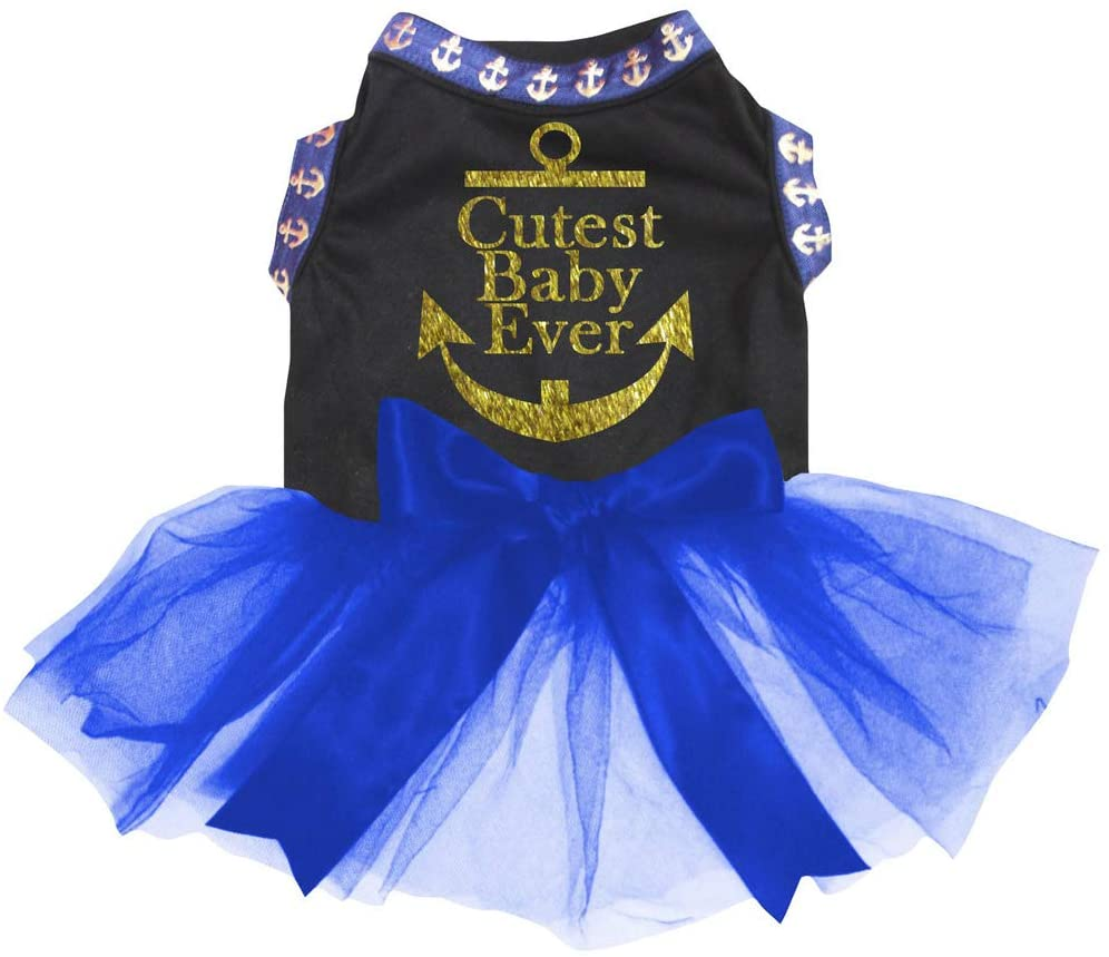 Petitebella Sailor Anchor Theme Black Shirt Royal Blue Tutu Puppy Dog Dress