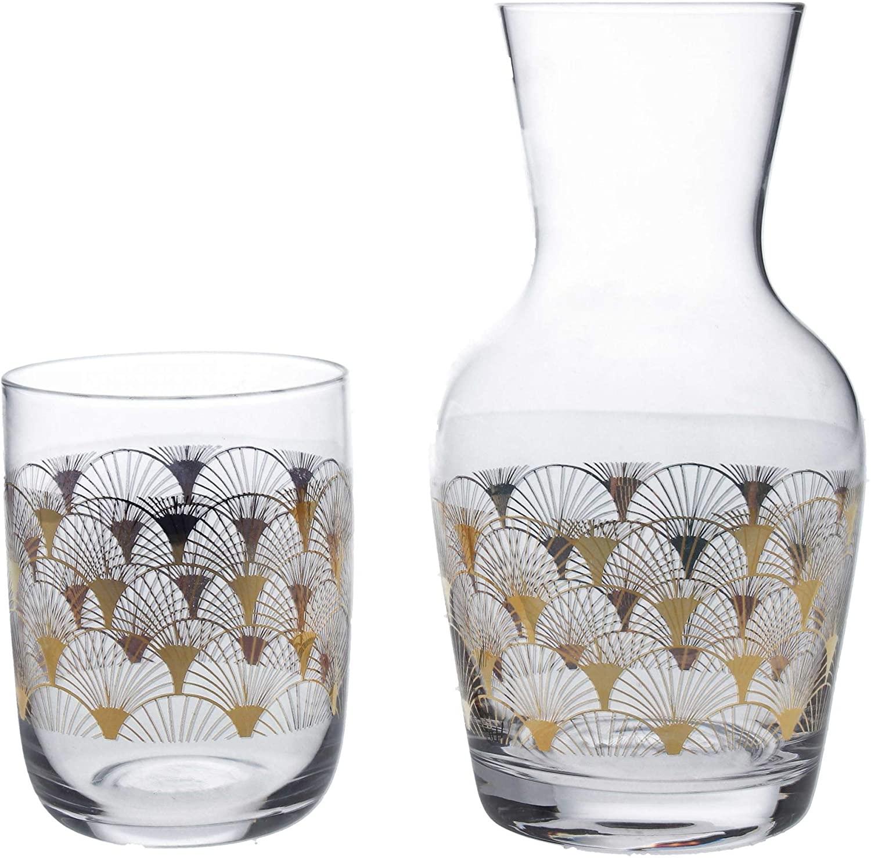 Glass Bedside Water Carafe w/Tumbler - Gold Art Deco Fan