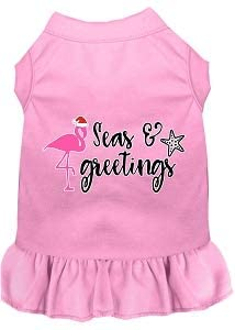 Mirage Pet Product Seas and Greetings Screen Print Dog Dress Light Pink Lg