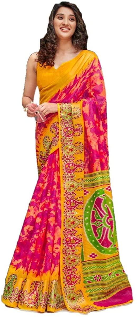 Ethnic Wear Traditional Silk Saree Cotton Linen Silk Saree Party Wear Saree Wedding Saree 1196 Pink
