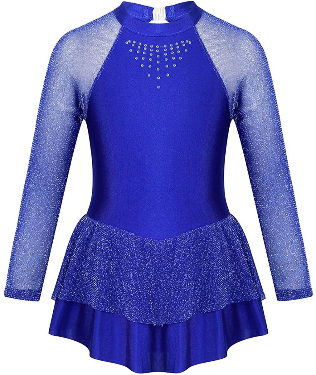 inhzoy Kids Girls Lycra Long Sleeves Figure Ice Skating Dress Mock Neck Cutouts Ballet Dance Leotard Dancewear