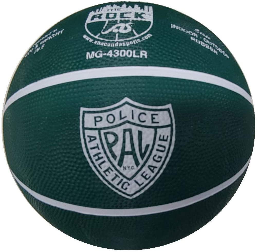 Anaconda Sports The Rock (Police Athletic League) Basketball Indoor/Outdoor, Intermediate Official Size 6 Rubber Basketball MG-4300LR