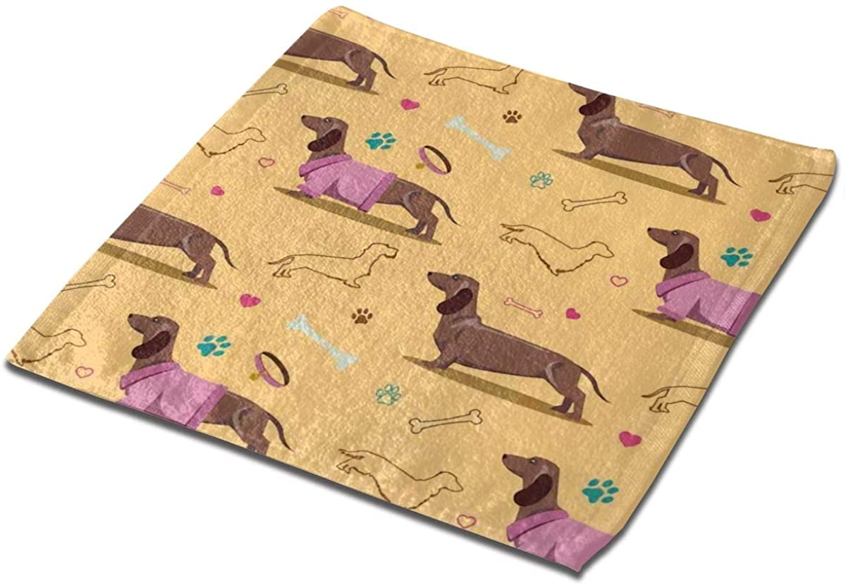 Dachshunds Dogs Bones Paw Prints Square Washcloths Face Wash Cloth Fingertip Towel Rags Soft Merch Gift and Absorbent 13 x 13 inches