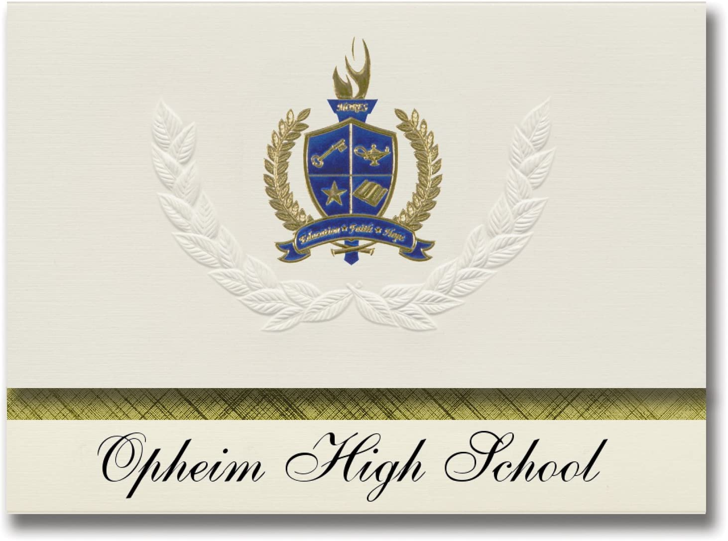 Signature Announcements Opheim High School (Opheim, MT) Graduation Announcements, Presidential style, Elite package of 25 with Gold & Blue Metallic Foil seal