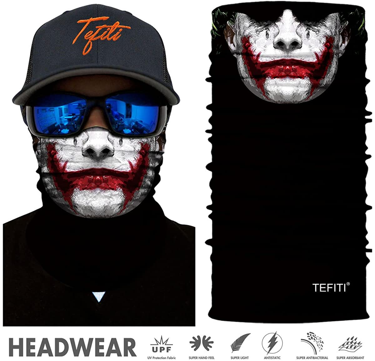 TEFITI Stretchable Face Scarf Guards Balaclava Headwear for Camping,Running,Cycling,Biking,Motorcycling,Fishing,Hunting,Yard Working and Sun UV Protection