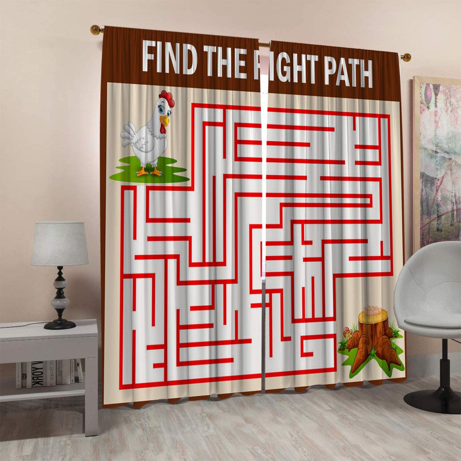 SeptSonne Kids Room Window Curtain Panels Drapes Illustration of A Maze Game to Find The Hen Walks to The Egg Boys Room Curtains Artwork Customized Curtains 55x63 Inch