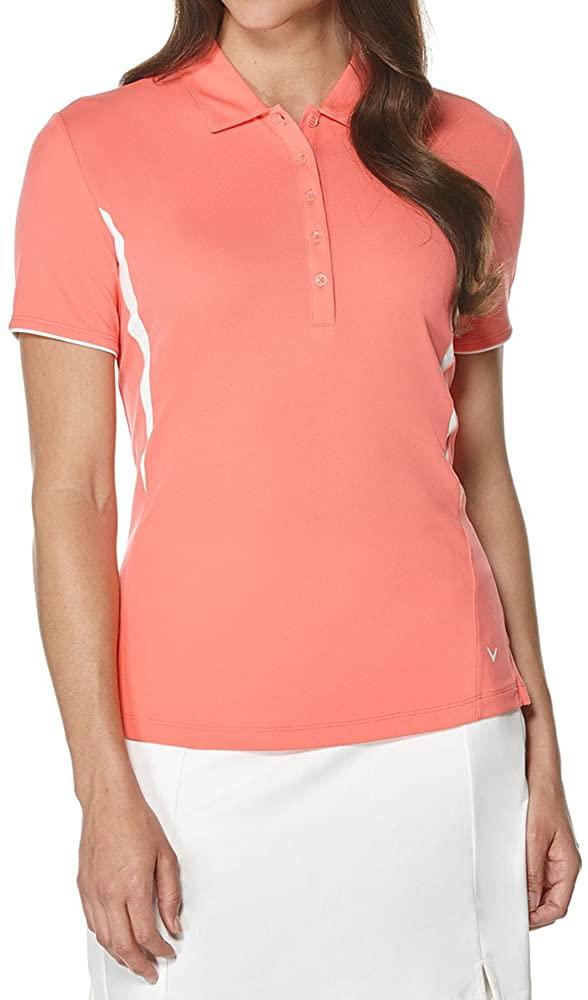 Callaway Womens Golf Performance Short Sleeve Color Blocked Polo Shirt