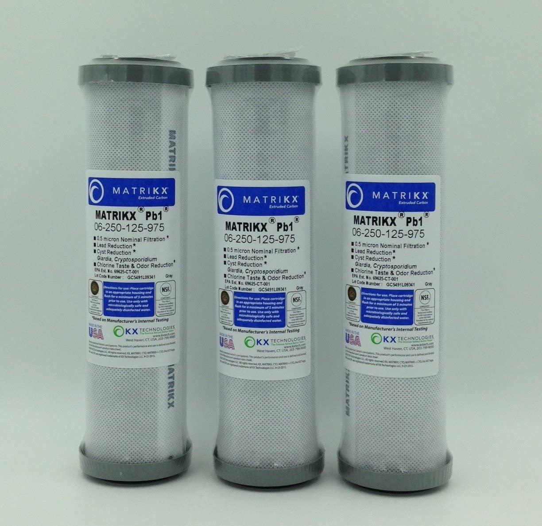 KX MATRIKX Pb1 10-Inch Length Extruded Carbon Block Filter Cartridge, 3-Pack