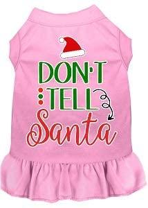 Mirage Pet Product Don't Tell Santa Screen Print Dog Dress Light Pink XXXL