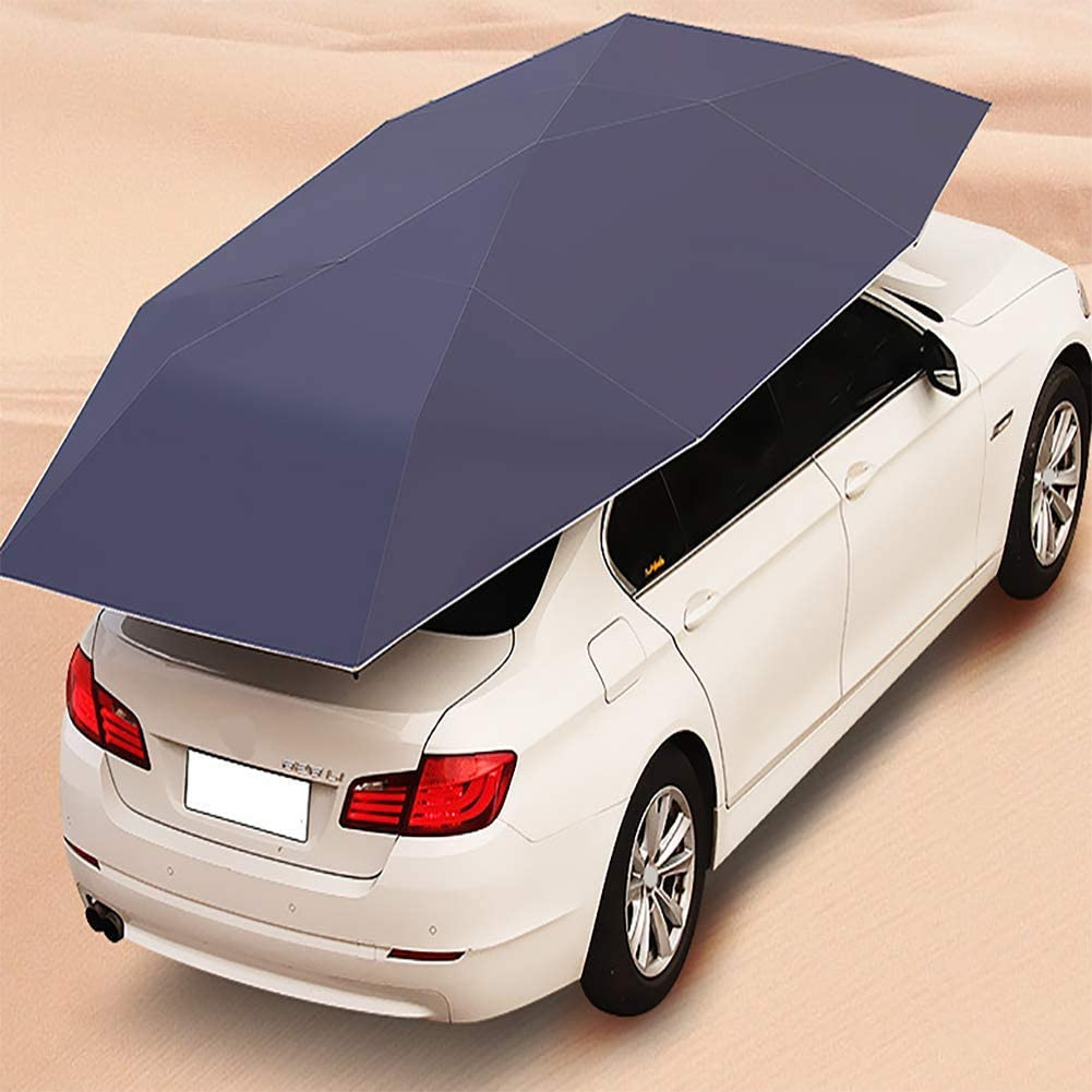 JINGBO Automatic Car Tent,Remote Control Movable Carport Four-Season Folded Portable Anti-UV Water-Proof Anti-Snow Frost Ice,Car Umbrella,Sunshade,230X460CM Blue, Silver