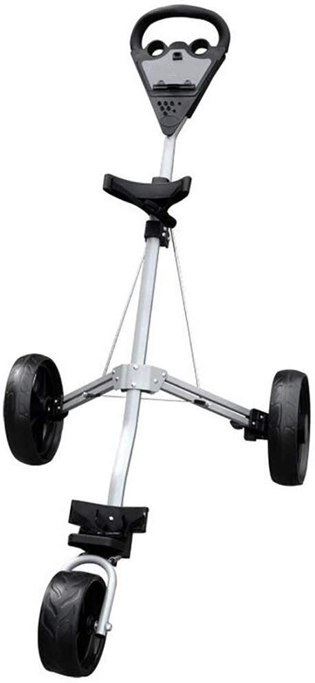 ANJING 3 Wheel Foldable Golf Push Cart, Lightweight Folding Golf Trolley with Foot Brake, Easy to Open/Close
