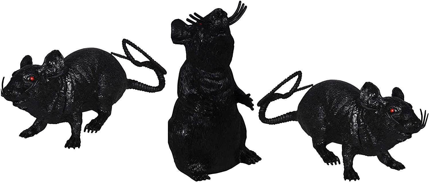 Greenbrier Plastic Squeezable Squeaking Rats Spooky Scary Creepy Halloween Decor (Black 3-Pack)