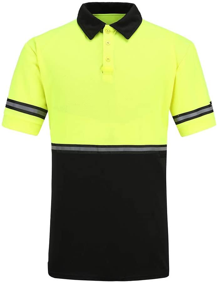 High Visibility Polo Shirt Short Sleeve Job Safety Reflective Gear Yellow XS