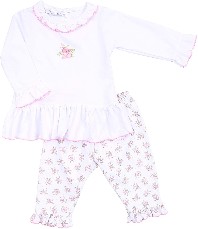 Magnolia Baby Baby Girl Vintage Magnolia Printed Ruffle 2pc Pant Set Pink
