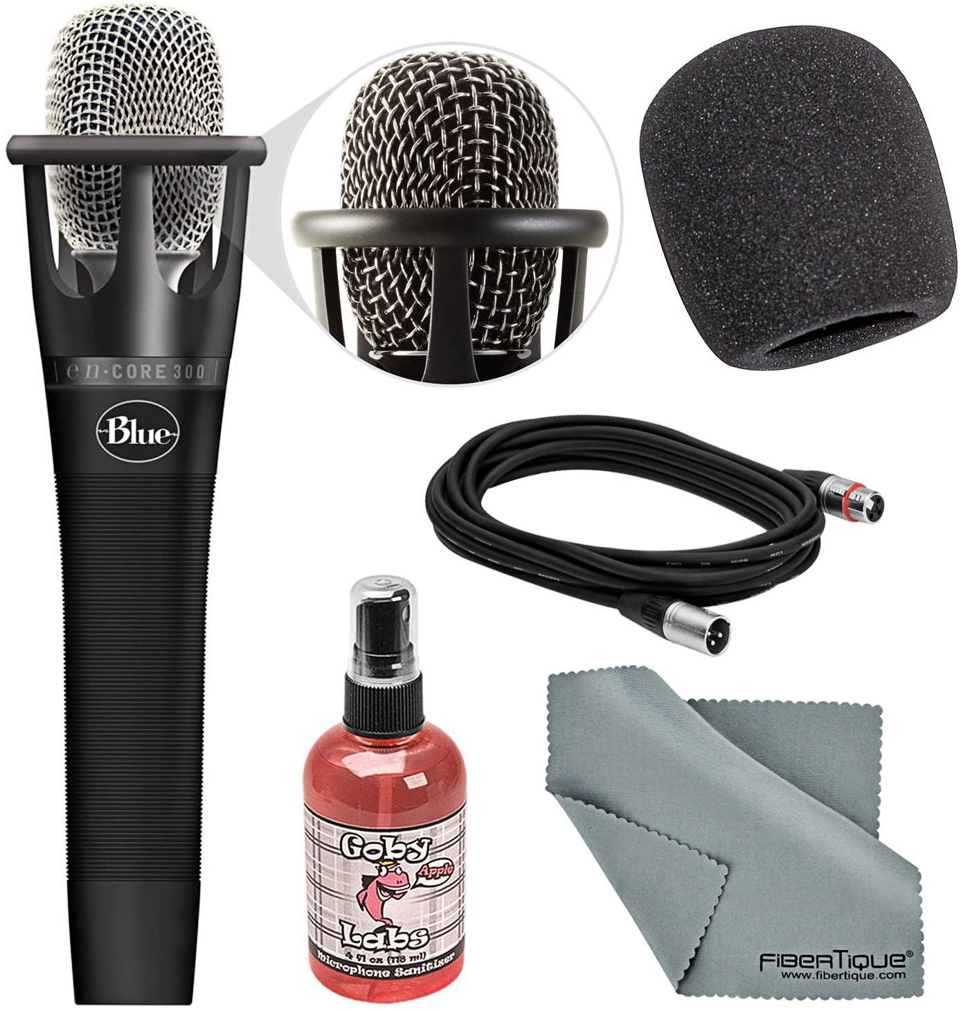 Blue Encore 300 Condenser Handheld Cardioid Microphone with Windscreen+Sanitizer+Cable+Fibertique Cloth Bundle