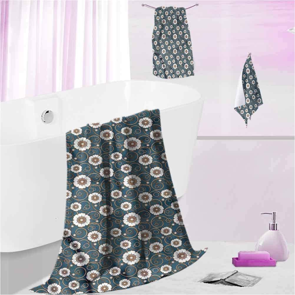Patterned Towels Vintage Highly Absorbent Quick-Dry Towels Pattern of Daisies M - Contain 1 Bath Towel 1 Hand Towel 1 Washcloth