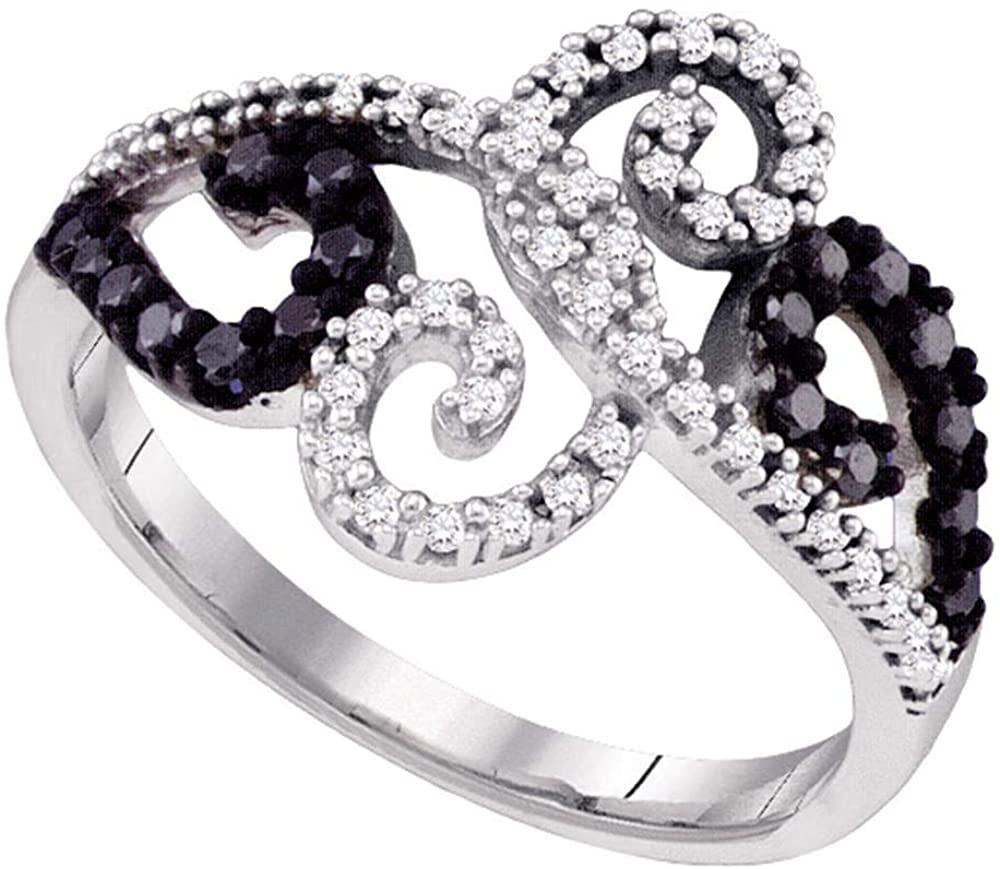 The Diamond Deal 10k White Gold Black Color Enhanced Diamond Womens Whimsical Swirled Cocktail Ring 1/3 Cttw