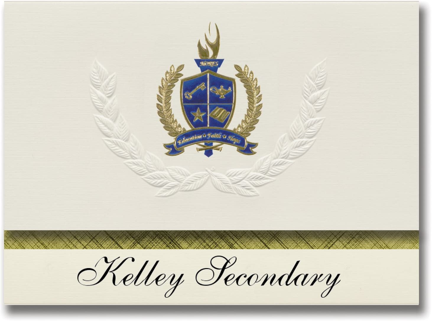 Signature Announcements Kelley Secondary (Silver Bay, MN) Graduation Announcements, Presidential style, Elite package of 25 with Gold & Blue Metallic Foil seal