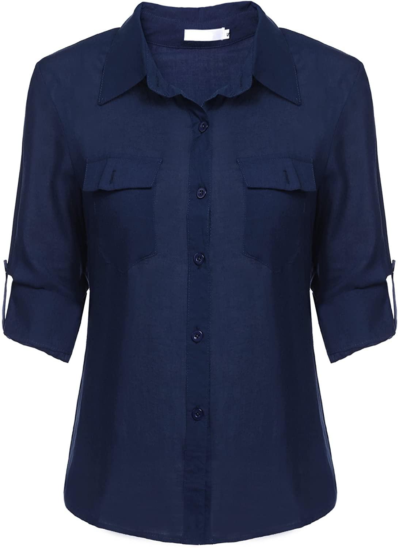 SE MIU Women's Casual Button Down Tunic Fitted Long/Short Sleeve Office Top Shirt, Navy Blue, XXL