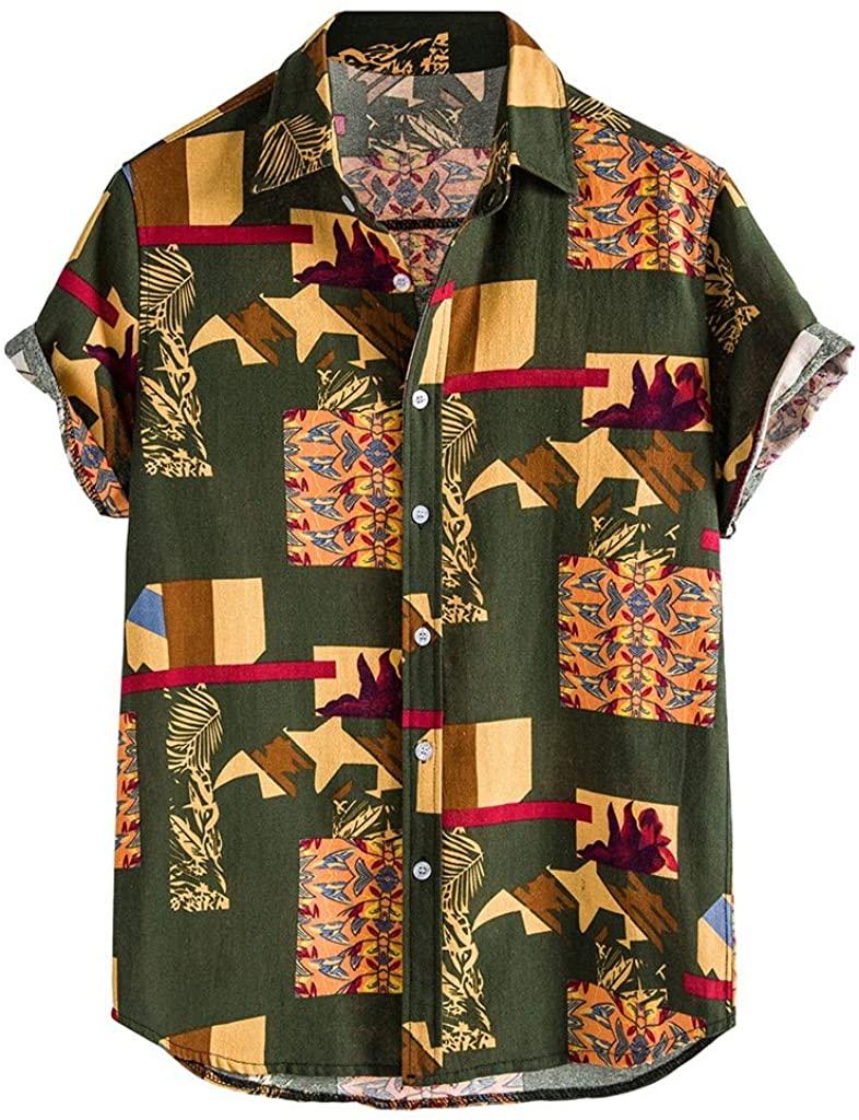 POQOQ Shirts Blouse Men Striped Printed Turn Down Collar Short Sleeve Casual