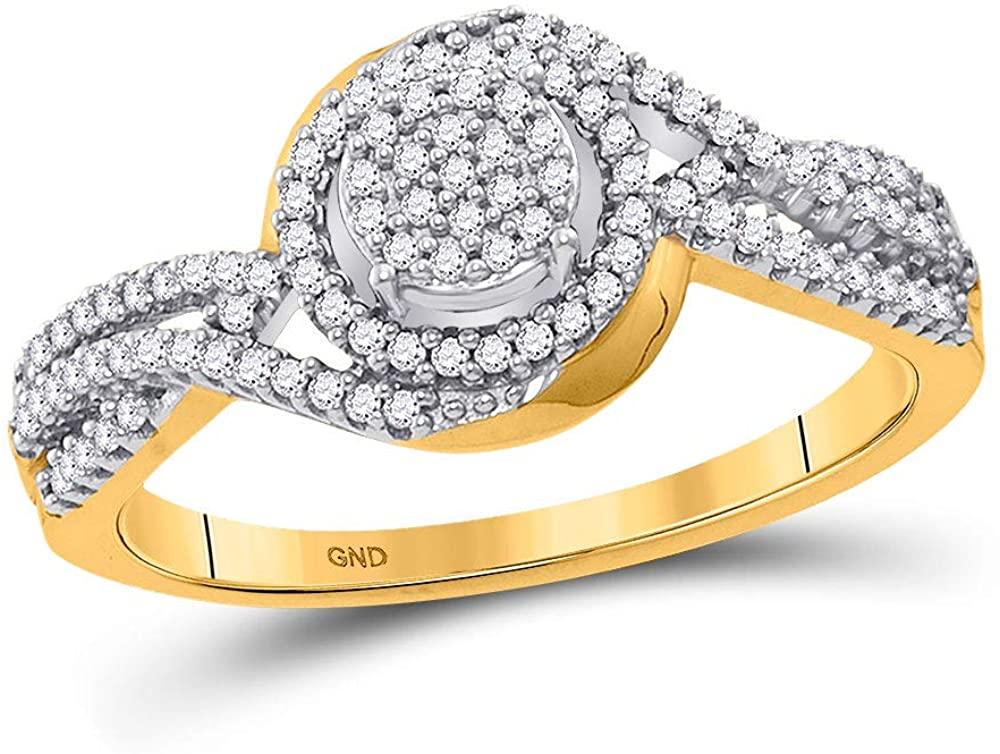 10kt Yellow Gold Womens Round Diamond Cluster Twist Ring 1/4 Cttw