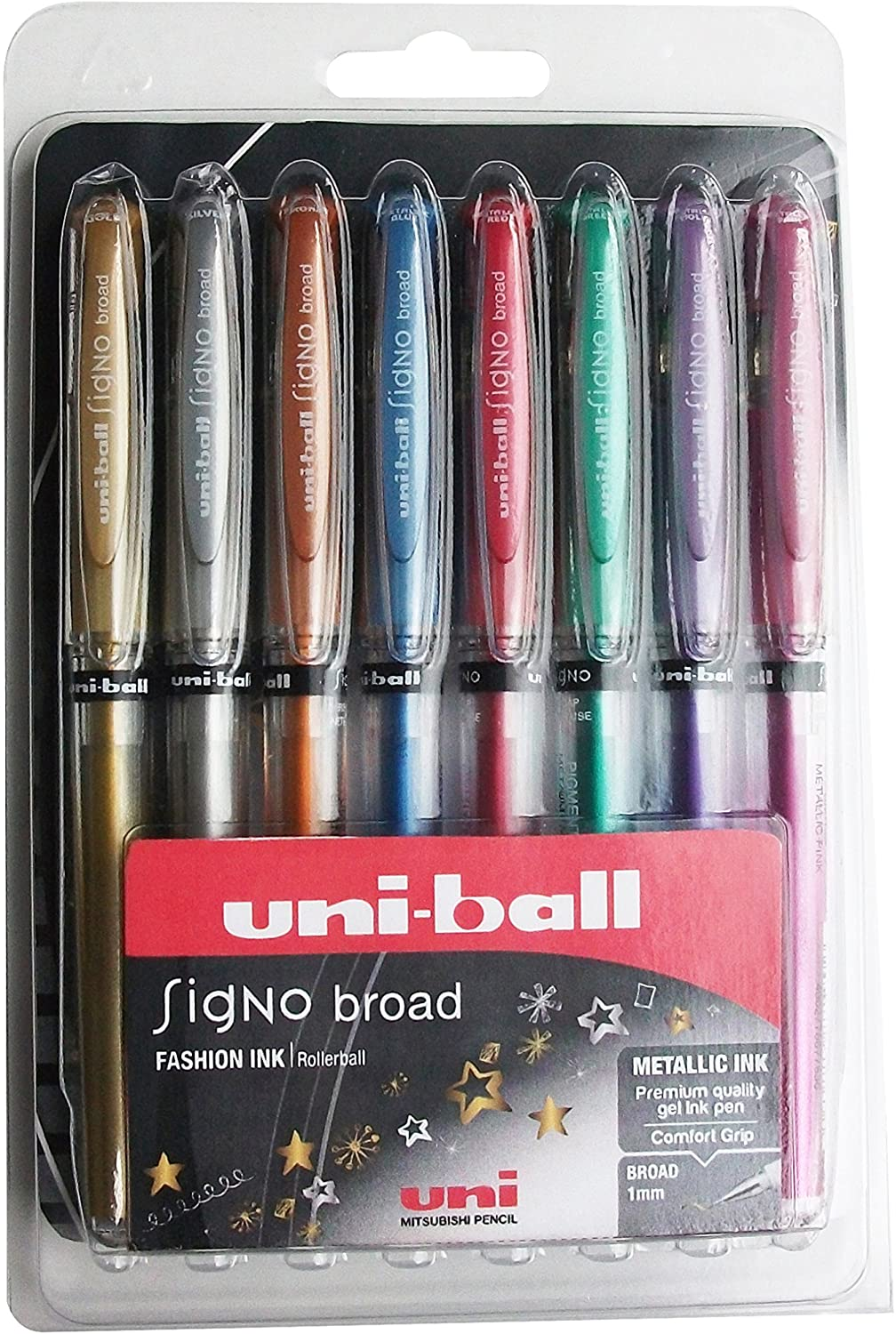 Uni-ball Signo Um-153 Broad Metallic Rollerball Pen - Assorted Colour, Pack Of 8