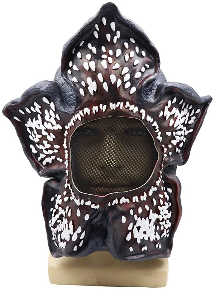 Vercico Demogorgon Mask Halloween Cosplay Things Costume Props Scary Latex Full Head Masks Headgear for Kids Dress up Party Canival Black