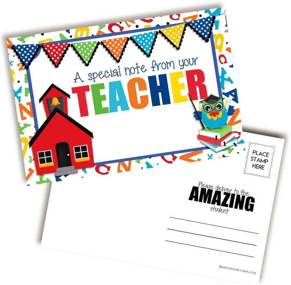 Note From Teacher Little Red Schoolhouse Themed Blank Postcards For Teachers To Send To Students, 30 4